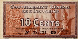 10 Cents INDOCHINE FRANÇAISE  1939 P.085d NEUF