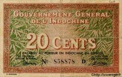 20 Cents INDOCHINE FRANÇAISE  1939 P.086a TB