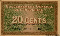20 Cents INDOCHINE FRANÇAISE  1939 P.086d SPL