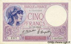 5 Francs VIOLET FRANCE  1924 F.03.08 SPL