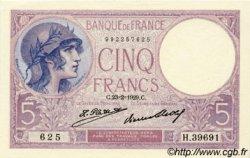 5 Francs VIOLET FRANCE  1929 F.03.13 pr.NEUF