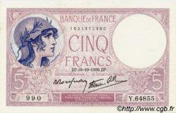 5 Francs VIOLET modifié FRANCE  1939 F.04.12 SPL+