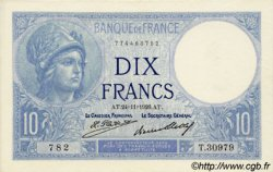 10 Francs MINERVE FRANCE  1926 F.06.10 SPL