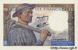 10 Francs MINEUR FRANCE  1941 F.08.02 NEUF