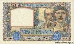 20 Francs SCIENCE ET TRAVAIL FRANCE  1940 F.12.10 NEUF