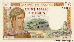 50 Francs CÉRÈS FRANCE  1935 F.17.03 SUP+