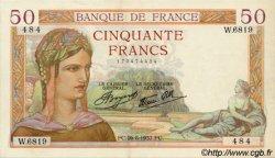 50 Francs CÉRÈS modifié FRANCE  1937 F.18.02 SUP+