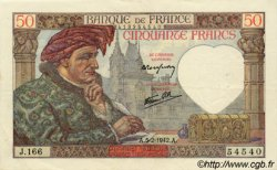 50 Francs JACQUES CŒUR FRANCE  1942 F.19.19 pr.SUP