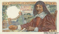 100 Francs DESCARTES FRANCE  1943 F.27.03 SUP+