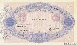 500 Francs BLEU ET ROSE modifié FRANCE  1939 F.31.26 SUP+