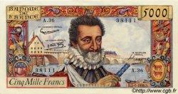 5000 Francs HENRI IV FRANCE  1958 F.49.05 pr.NEUF