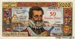 50 NF sur 5000 Francs HENRI IV FRANCE  1959 F.54.02 SUP+