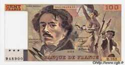 100 Francs DELACROIX imprimé en continu FRANCE  1991 F.69b.03b NEUF
