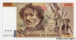 100 Francs DELACROIX uniface FRANCE  1993 F.69u.06 SUP