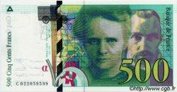500 Francs PIERRE ET MARIE CURIE sans le symbole du Radium FRANCE  1994 F.76ter NEUF