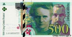 500 Francs PIERRE ET MARIE CURIE FILIGRANE COUPÉ EN DEUX FRANCE  1994 F.76quin NEUF