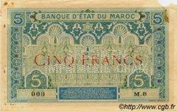 5 Francs 1er type 1921 MAROC  1921 P.08s TTB