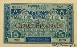 5 Francs 2ème type 1924 MAROC  1924 P.09 TTB à SUP