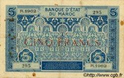 5 Francs MAROC  1924 P.09 TTB