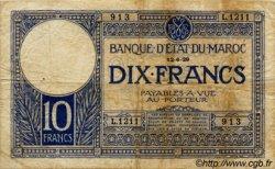 10 Francs MAROC  1929 P.17a TB
