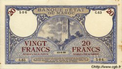 20 Francs MAROC  1920 P.12 TTB+ à SUP