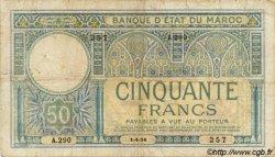 50 Francs MAROC  1926 P.13 pr.TB