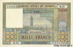 1000 Francs type 1951 MAROC  1956 P.47 SUP+ à SPL