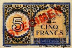 5 Francs type 1943 Casablanca MAROC  1943 P.33s SUP