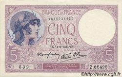 5 Francs VIOLET modifié FRANCE  1939 F.04.08 pr.NEUF