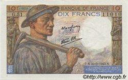 10 Francs MINEUR FRANCE  1943 F.08.08 UNC
