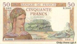 50 Francs CÉRÈS FRANCE  1936 F.17.22 pr.SUP