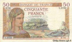 50 Francs CÉRÈS FRANCE  1937 F.17.35 pr.SUP