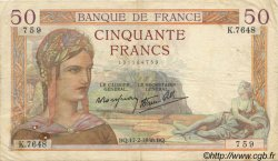 50 Francs CÉRÈS modifié FRANCE  1938 F.18.09 TB