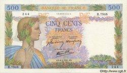 500 Francs LA PAIX FRANCE  1944 F.32.46 pr.TTB