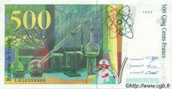 500 Francs PIERRE ET MARIE CURIE FILIGRANE COUPÉ EN DEUX FRANCE  1994 F.76qui.01 pr.SPL