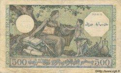 500 Francs ALGÉRIE SURCHARGÉ FRANCE  1943 VF.09.01 B+