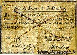 6 Livres Tournois Poivre ISLES DE FRANCE ET BOURBON  1768 P.A16 B