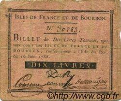 10 Livres ISLES DE FRANCE ET BOURBON  1788 P.08 TB+