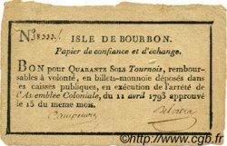 40 Sols Tournois ISLES DE FRANCE ET BOURBON  1793 P.-- TTB