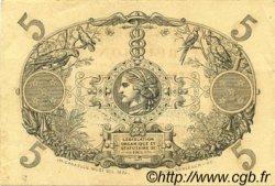 5 Francs Cabasson rouge ÎLE DE LA RÉUNION  1926 P.14 SUP+