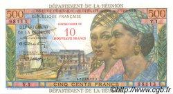 10 NF sur 500 Francs Pointe à Pitre ÎLE DE LA RÉUNION  1971 P.54b pr.NEUF