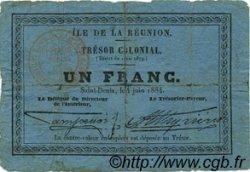 1 Franc ÎLE DE LA RÉUNION  1884 P.06 B+