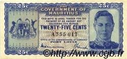 25 Cents ÎLE MAURICE  1940 P.24a pr.SPL