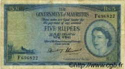 5 Rupees ÎLE MAURICE  1954 P.27 TB