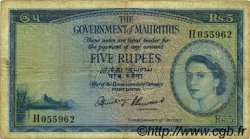 5 Rupees ÎLE MAURICE  1954 P.27 TB