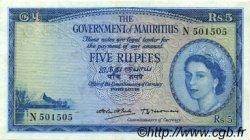5 Rupees ÎLE MAURICE  1954 P.27 TTB+