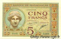 5 Francs MADAGASCAR  1926 P.35s NEUF