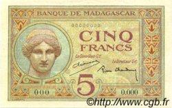 5 Francs MADAGASCAR  1937 P.35s pr.NEUF