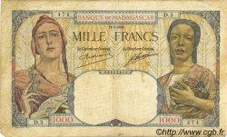 1000 Francs MADAGASCAR  1933 P.41 pr.TB