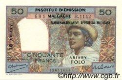 50 Francs - 10 Ariary MADAGASCAR  1961 P.51a pr.NEUF